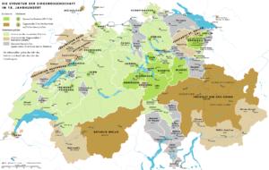 Carte de la Suisse après l'invasion du Pays de Vaud par Berne en 1536 - Histoire de la Suisse Romande