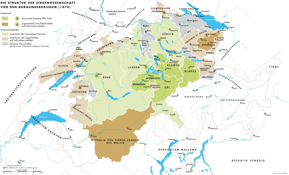 Une carte de la Confédération juste en 1474 juste avant le début des guerres de Bourgogne.