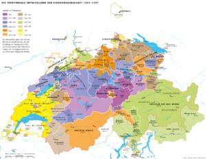 Carte de l'Evolution territoriale de la Suisse de 1291 à 1797 - Histoire de la Suisse Romande