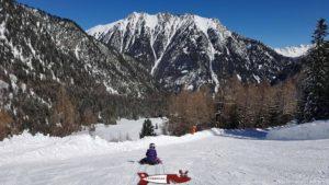 La piste de luge d'hiver à Champex-lac dans le Val d'Arpette.