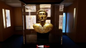 The reproduction of the bust of Emperor Marcus Aurelius at the Roman Museum of Avenches