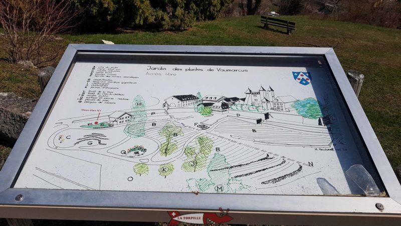 Un plan du jardin des plantes de Vaumarcus en contrebas du château.