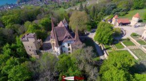 vue de drone du château de gorgier