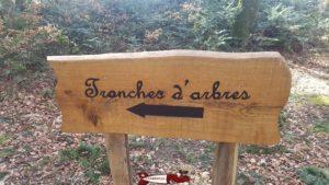 panneau indicateur pour se rendre à l'arboretum tronches d'arbres