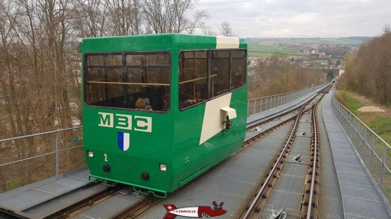 The car of the funicular of Cossonay managed by the Morges-Bière-Cossonay Region Transports. (MBC).