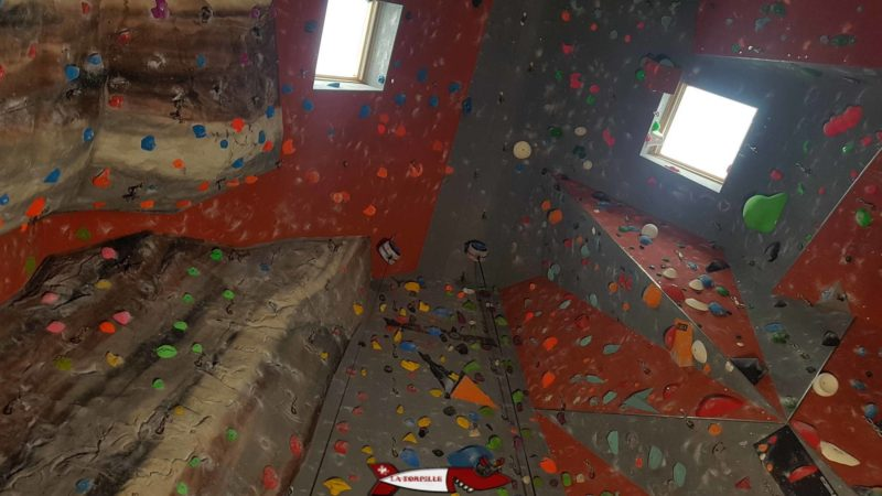 Le plafond de la salle de grimpe de Gecko Escalade avec deux enrouleurs bleus.