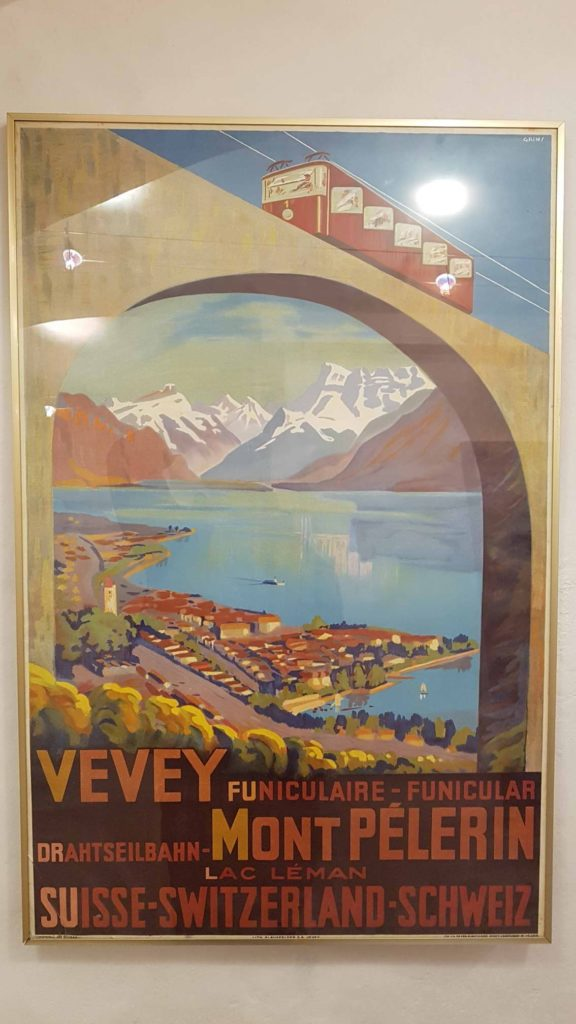Retro advertisement on the Mont-Pelerin funicular displayed at the Montreux museum.