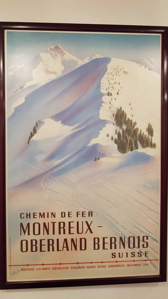 Retro advertisement on the MOB displayed at the Montreux museum. The poster shows the main stations of the MOB
