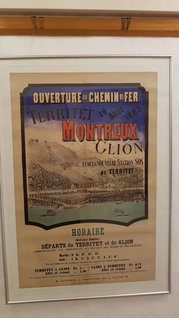 An old advertising poster in the historical museum of Montreux.