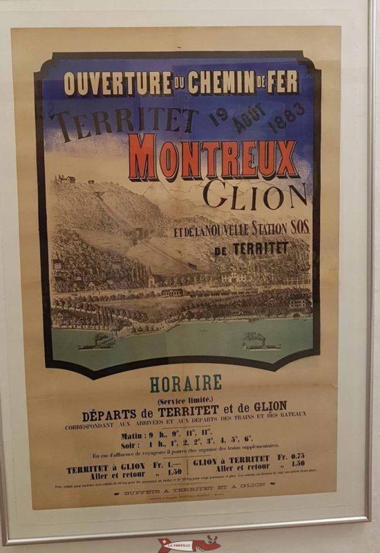 Publicité rétro affichée au musée de Montreux du funiculaire Territet Glion