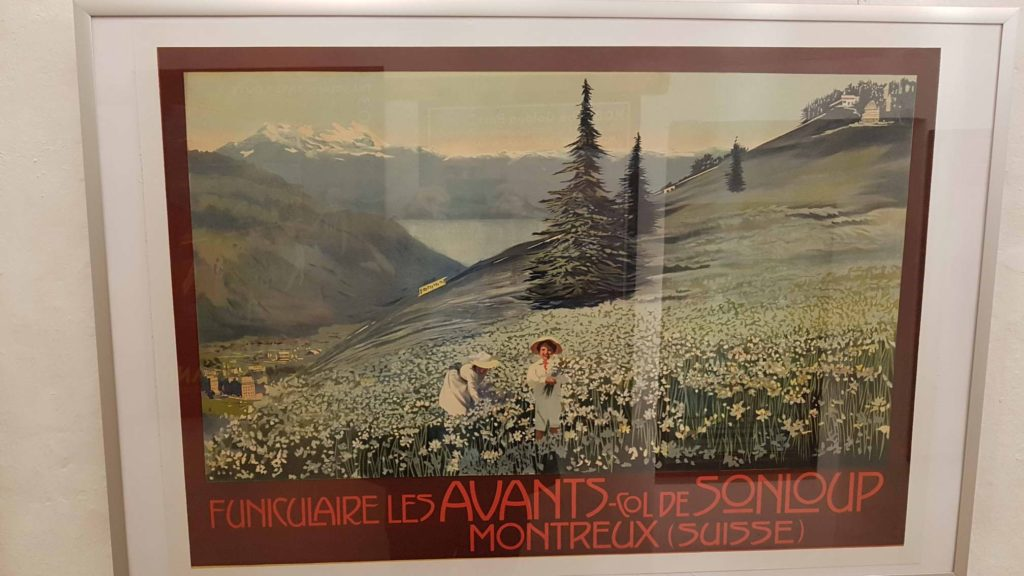 Retro advertising on the funicular les Avants - Sonloup displayed at the Montreux museum.