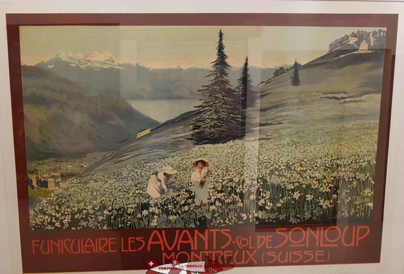 Publicité rétro affichée au musée de Montreux sur le funiculaire les avants sonloup