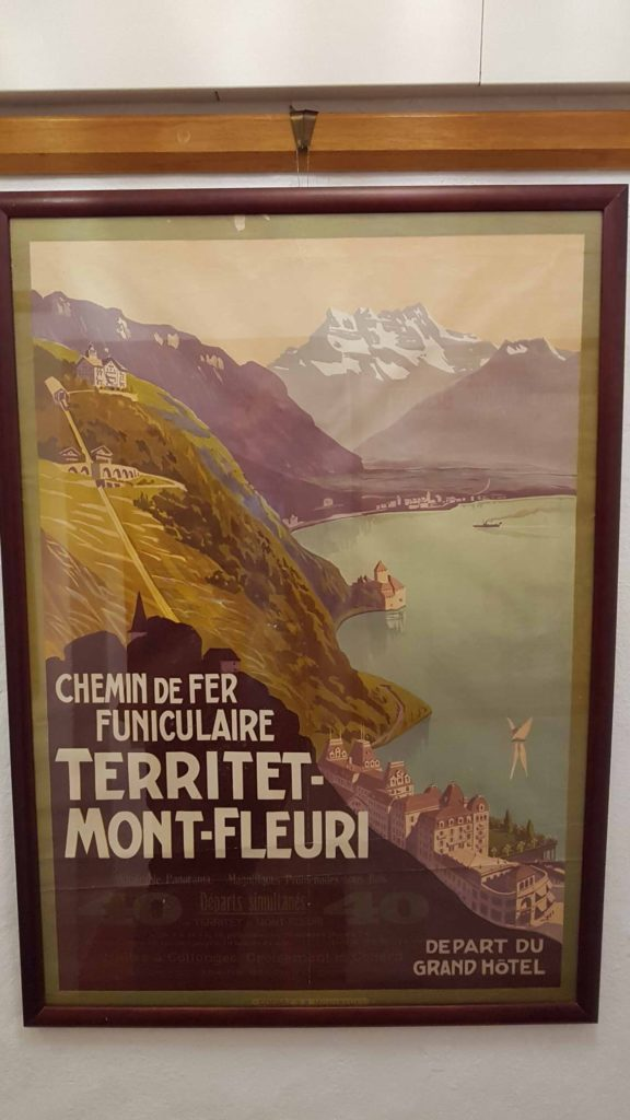 Retro advertisement on the Territet - Glion funicular displayed at the Montreux museum.