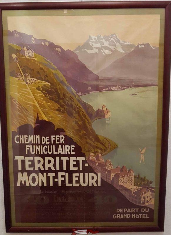 Publicité rétro affichée au musée de Montreux sur le funiculaire Territet Mont-Fleuri