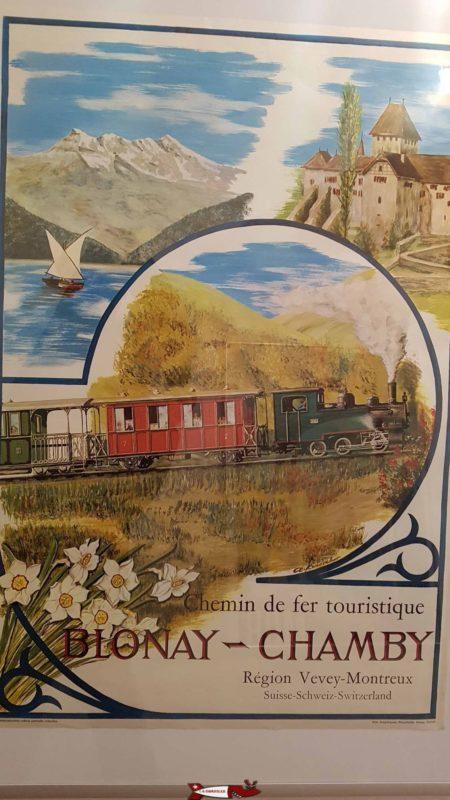 Publicité rétro affichée au musée de Montreux sur le train touristique Blonay Chamby