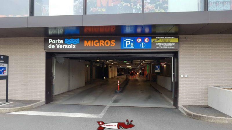 Le parking Migros pour accéder à totem versoix