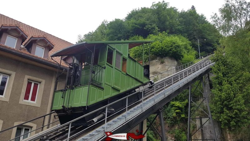 The funicular of Fribourg, the only means of transport in Europe using wastewater.