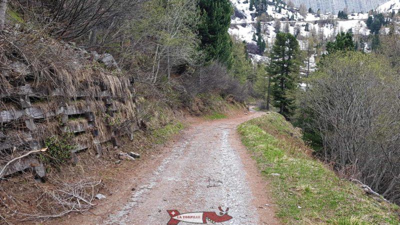 Chemin en terre menant au barrage de Cleuson