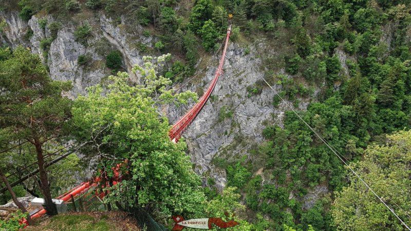 Le pont supsendu de Niouc avec sur la droite le fils pour la tyrolienne