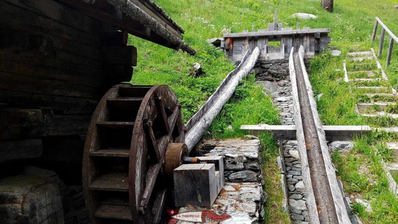 Une roue à aube alimentée en eau par un demi tronc évidé aux moulins de Saint-Luc.