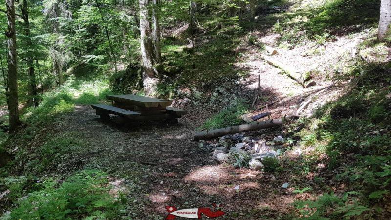 La table de pic-nic à côté du début du chemin des gorges de la Poëta-Raisse.