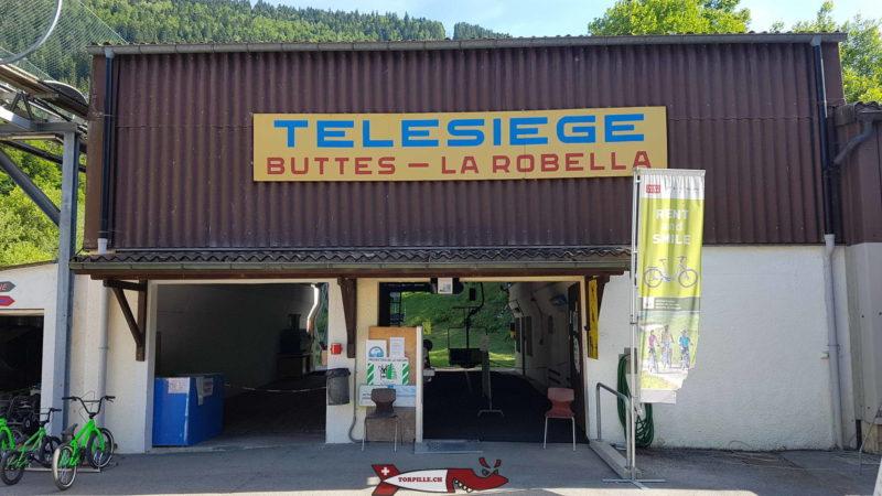 La gare de départ du télésiège du parc de loisirs de la Robella