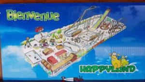 Un plan des activités du parc happyland.