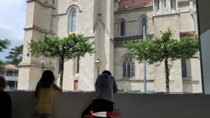 The cathedral from the lausanne history museum's large bay window.
