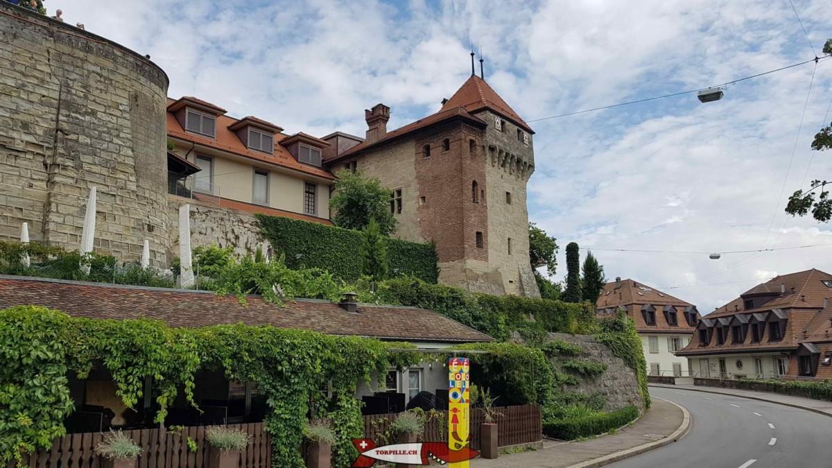 Le reste du château de l'Ancien Évêché avec sur la gauche l'esplanade de la cathédrale et sur la droite la rue Pierre-Viret.