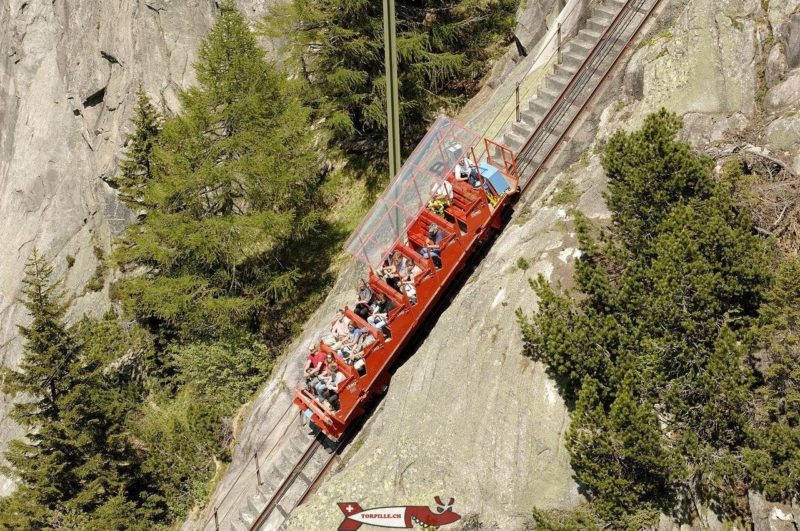 The Gelmer funicular without roof.