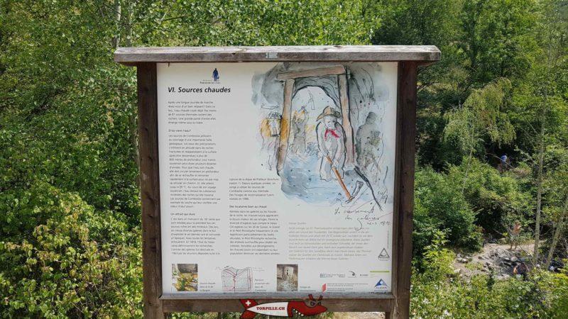 Un panneau donnant des indication sur l'exploitation des sources - sources d'eau chaude de Combioula