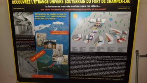A description of the Champex-Lac fort displayed in the Evionnaz fort.