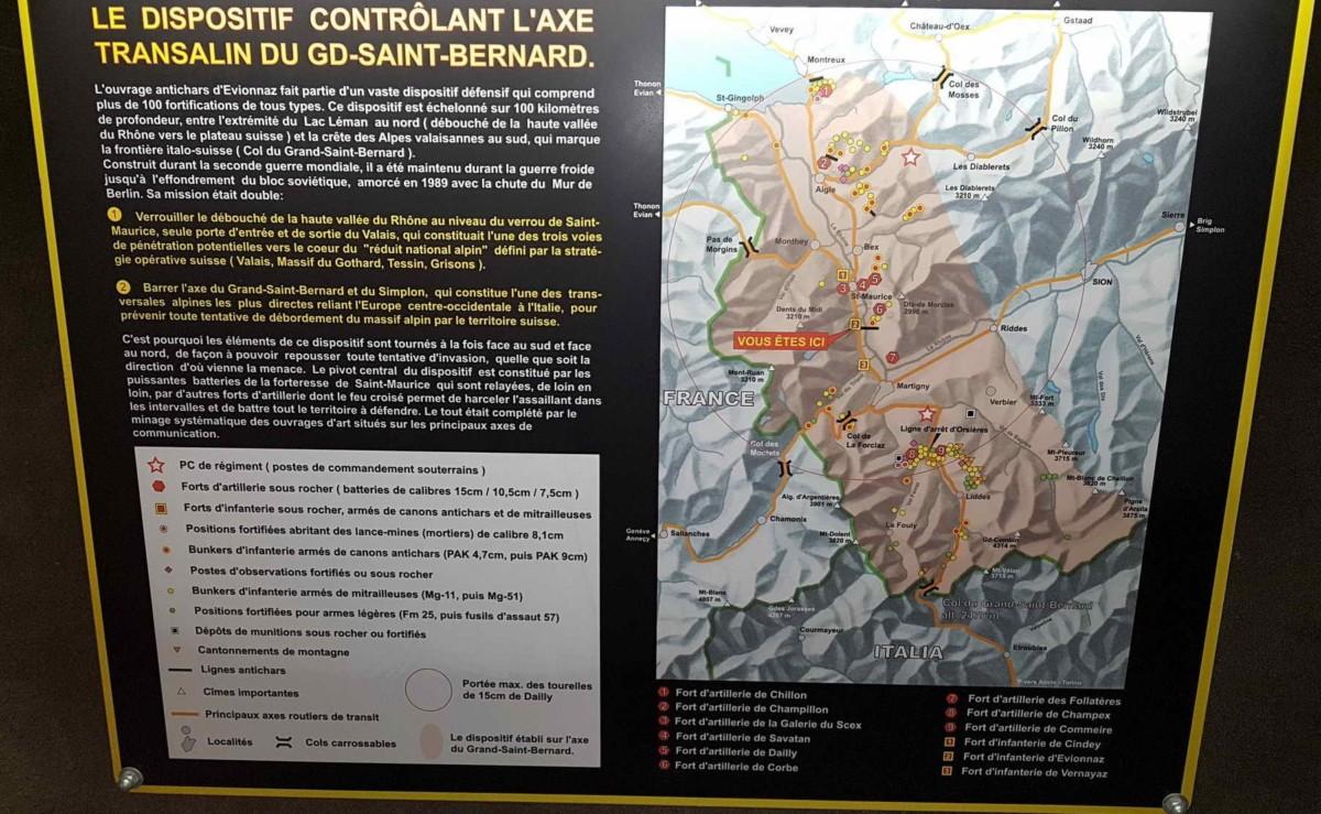 Les forts militaires autour de Saint-Maurice et dans l'axe du Grand-Saint-Bernard