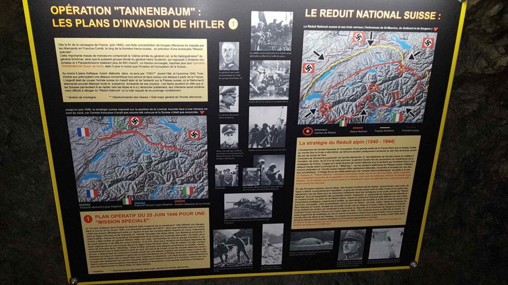 Une carte du reduit national exposée dans le fort d'Evionnaz - fort de champex-lac