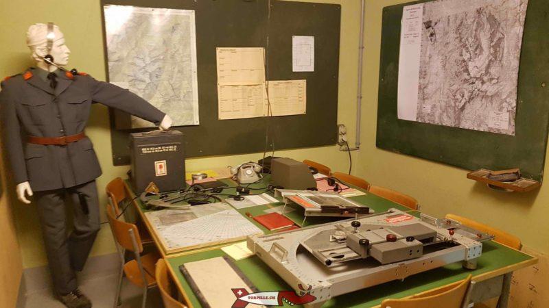 Le poste de calcul des tirs avec les cartes de portée des canons au fort de champex-lac