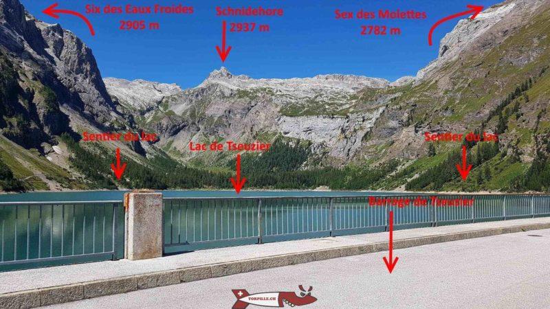 Les montagnes autour du lac de tseuzier - barrage de tseuzier
