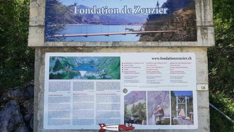 Le descriptif du parcours autour du lac formé par le barrage de Tseuzier avec les différents postes