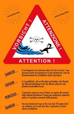 Une affiche que l'on peut voir sur le site des sources de Combioula mettant en garde sur le risque de crue.
