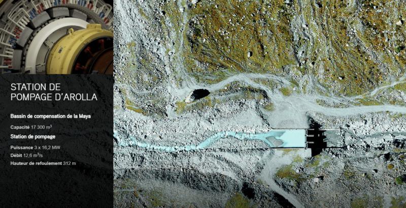 La vue de la prise d'eau au niveau d'Arolla et la rivière Borgne d'Arolla