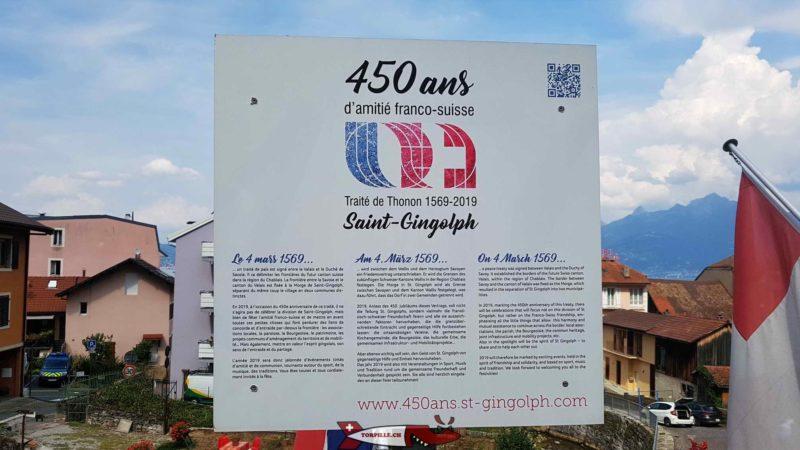 Un panneau souvenir près de la frontière France-Suisse en souvenir de 1569 - musée des traditions et des barques du léman