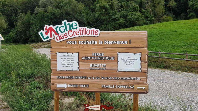 Le panneau d'accueil de l'Arche de Crétillons.