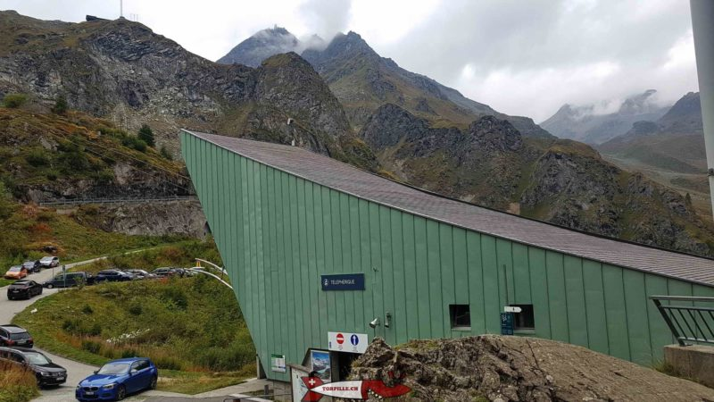 """The lower station of the cable car to """"le chargeur"""" under the Grande Dixence dam"""