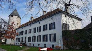 The main building of la tour-de-peilz castle perforated with windows