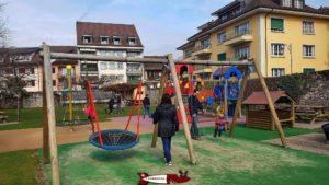the playground next to the tour-de-peilz-castle