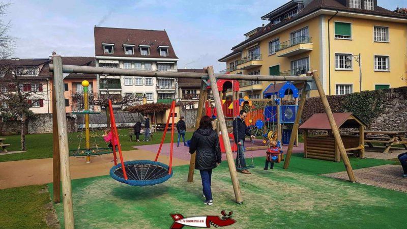 The playground next to the castle of la tour-de-peilz