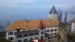 South view: The tour-de-peilz castle and the Geneva lake.