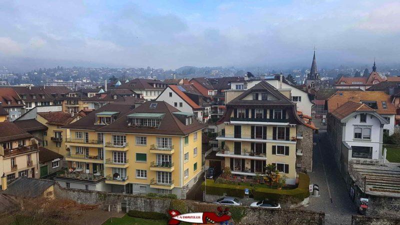 North View: The town of La Tour-de-Peilz from la tour-de-peilz castle
