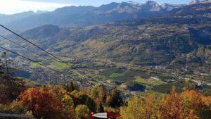 Vue Ouest sur la vallée du Rhône depuis le téléphérique Chalais-Briey-Vercorin - l'accrobranche de forêt aventures