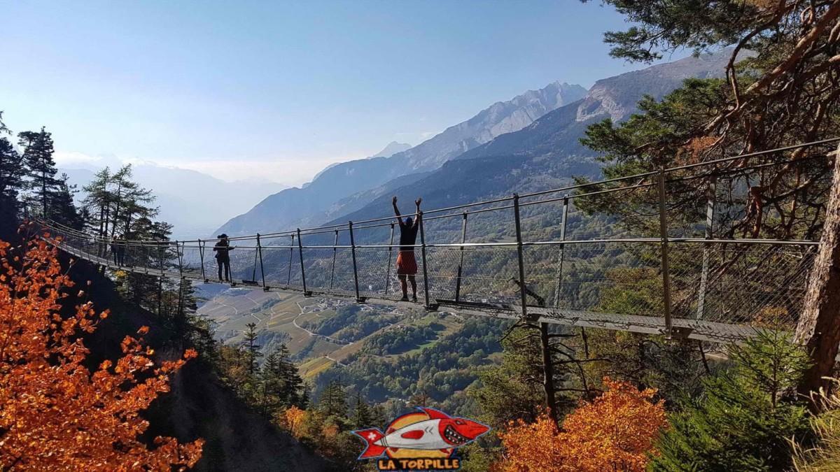 Le bisse du Torrent-Neuf à Savièse. Il possède sur son chemin 4 passerelles chacune longue de 100 mètres.