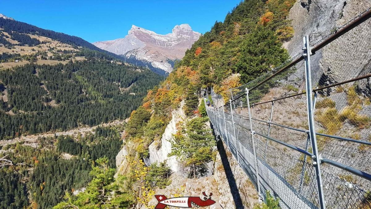 Point de vue sur le haut du vallon de la Morge depuis une passerelle.